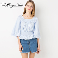 HAOYOUDUO 2016 autumn sweet cute pleated lace decoration flare sleeve design light blue elastic waist t-shirt for women