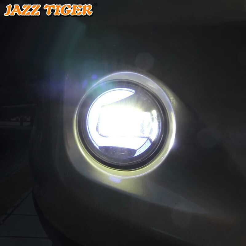 2 in 1 Functions Car LED Daytime Running Light Fog Lamp Projector For Toyota Harrier Venza