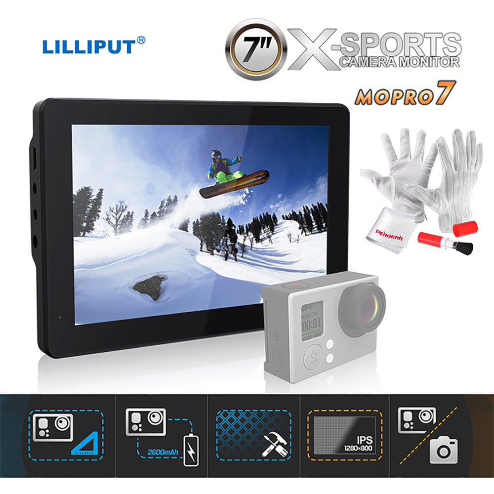 LILLIPUT Monitor Mopro 7 IPS Field X-Sports Camera Monitor w/ 2600mAh Battery HDMI AV 1280X800 for DSLR GoPro Hero 3+ / 4 lilliput tm 1018 o p 10 1 led ips full hd hdmi field touch screen camera monitor with hdmi input