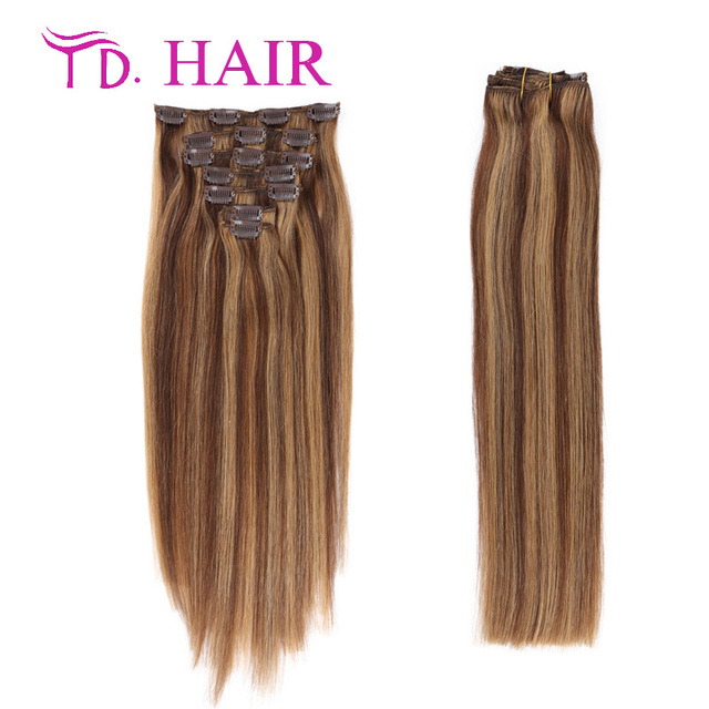 P427 Clip In Human Hair Extensions Double Drawn Clip In Hair