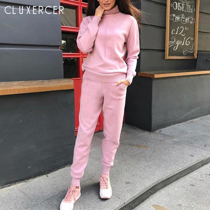 2019 New Autumn Turtleneck Knit Suit Casual Two Pieces Set Sweatshirts And Pant Women Female Sweat