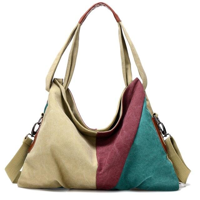 2017 New Vintage Patchwork Women Handbag Hot Sale Canvas Shoulder Bag Fashion Messenger Crossbody Bag Casual Shopping bags Tote