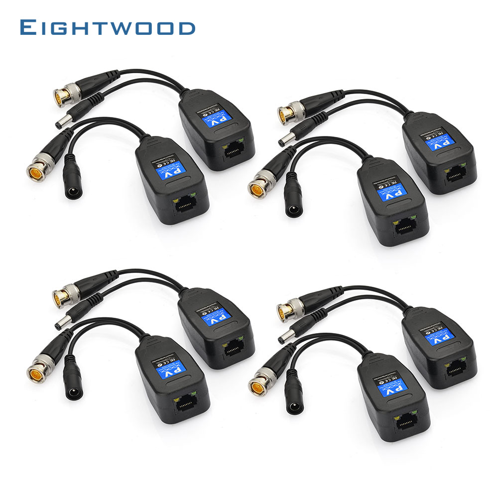 Eightwood 4 Paires CCTV Coaxial BNC et DC connecteur Power Video Balun (HD-SVI/HD-TVI) émetteur-récepteur à CAT5e 6 RJ45 Connecteur
