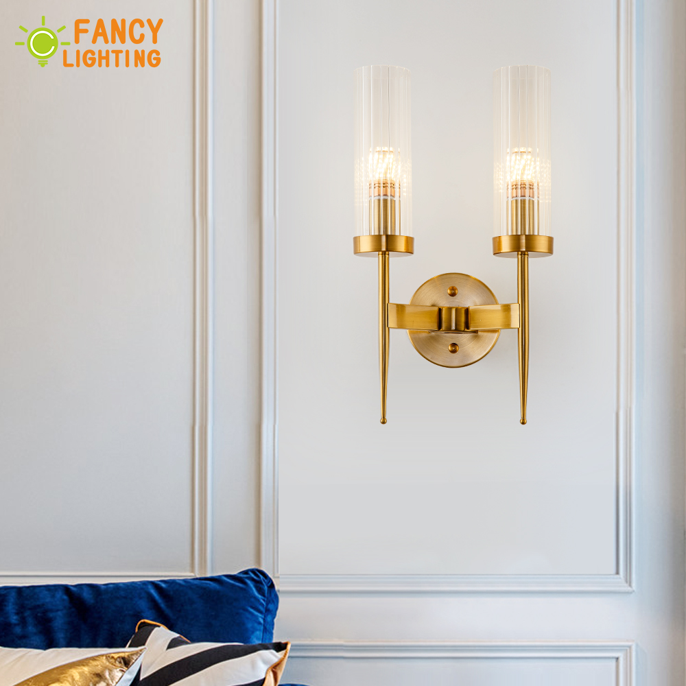 (E14 LED ampoule gratuitement) applique moderne en métal mur LED lumière pour la maison/salle de bains/chambre/salon décor abat-jour en verre wandlamp