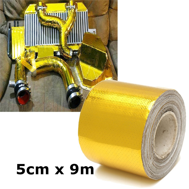 9mx5cm Adhesive Reflective Gold High Temperature Fiberglass Heat Shield Wrap Tape Roll Barrier for Car Truck Motorcycle 15m high temperature header manifold exhaust wrap fiberglass roll orange page 3