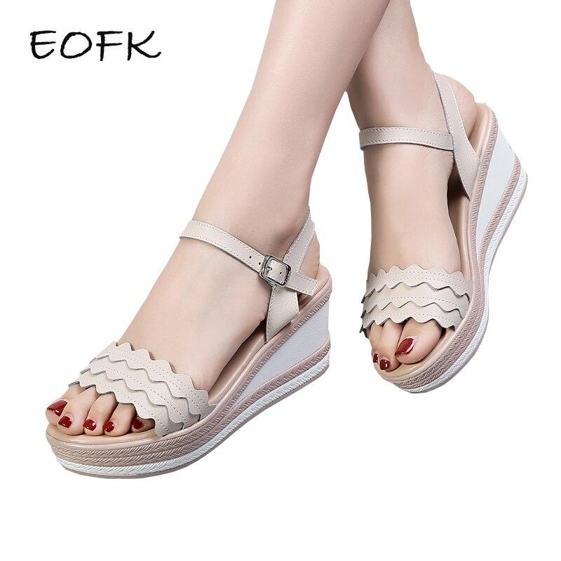 Eofk 2018 New Summer Women Sandals Wedges Shoes Woman -9627