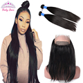 360 Lace Frontal with Bundle Brazilian Virgin Hair Straight Pre-Plucked 360 Frontal with Baby Hair Natural Hairline Virgin Hair