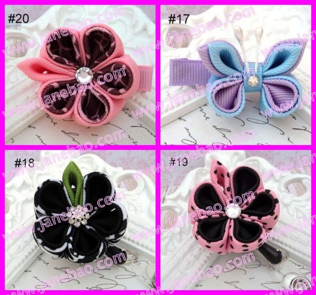 free shipping ribbon flower clips110pcs kanzashi flower hair clips badge reel hair clips holder