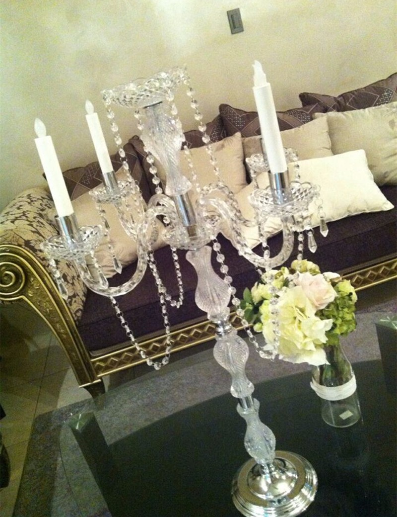 90cm Tall Table Centerpiece Acrylic Crystal Wedding Candelabra ...