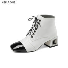 NemaoNe 100% genuine leather women boots lace up  ankle boots fashion square toe high heel ladies shoes for women