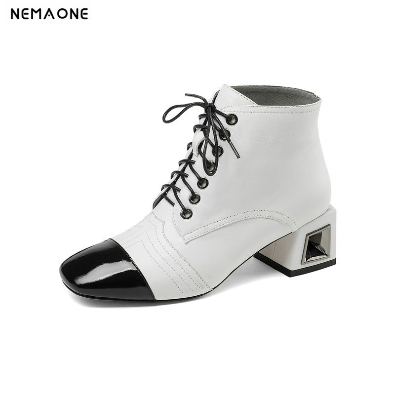 NemaoNe 100% genuine leather women boots lace up ankle boots fashion square toe high heel ladies shoes for women nemaone 100