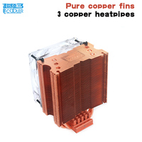 Pccooler S93E CPU Cooler Pure Copper Fins 4pin 9cm PWM Fan For AMD Intel LGA775 115x