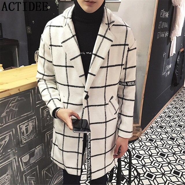 Шерсть Классический Длинные Траншеи Двубортный Тонкий Пальто Повседневная Мужская Пальто Зимняя Куртка