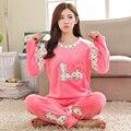 Beijo Coelho Outono e inverno pijamas de flanela espessamento das mulheres conjuntos de pijama de flanela sleepwear fêmea velo coral coelho da menina