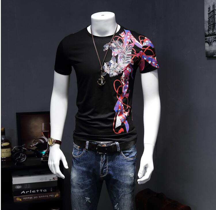 2017 Limited Sale O-neck Casual Broadcloth Cotton No Geometric Men's Short Sleeved Embroidered Collar Simple Slim T-shirt