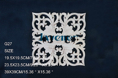 G27 -23.5x23.5cm Wood Carved Square Onlay Applique Unpainted Frame Door Decal Working Carpenter Decoration