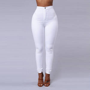 Skinny Jeans Pencil-Pants Black Sexy White High-Waist Render Femme Woman Solid-Color