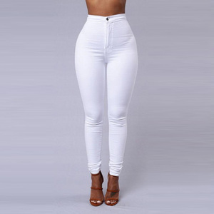 Solid Color Skinny Jeans Woman White Bla