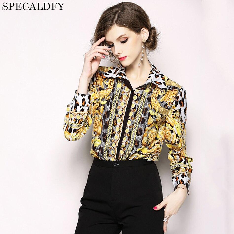 2018 Fashion Designer Runway Tops Women Blouses Long Sleeve Shirt Vintage Print Blouse Womens Tops And Blouses Camisa Feminina