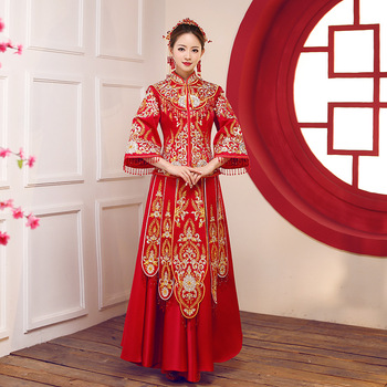 Red traditional Chinese style Bride wedding Dresses Embroidery cheongsam gown robe Party evening dress marry Qipao Vestido S-3XL