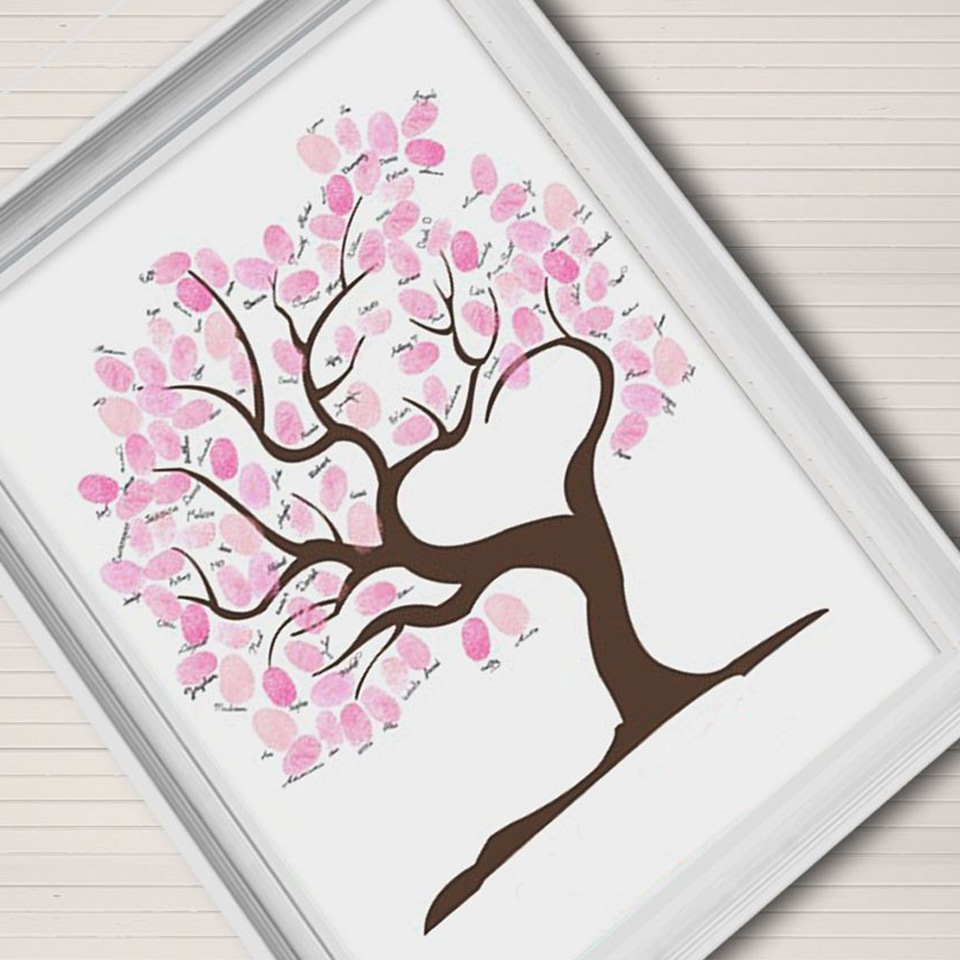 Wedding Guestbook Thumprint Tree Canvas A Great Wedding: Wedding Fingerprint Tree Guest Book Fingerprint Signature