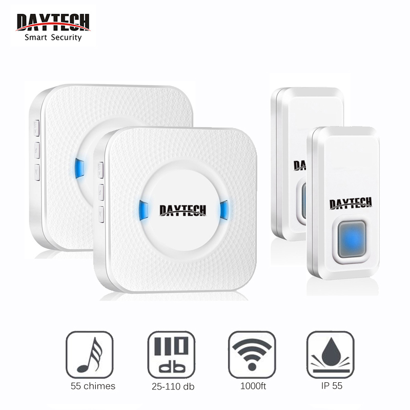 DAYTECH Wireless Doorbell Chime Kit Door Bell Waterproof EU US UK 2 Plugin Receivers 2 Remote Push Buttons 55 Doorbell Chimes cacazi ac 110 220v wireless doorbell 1 transmitter 6 receivers eu us uk plug 300m remote door bell 3 volume 38 rings door chime