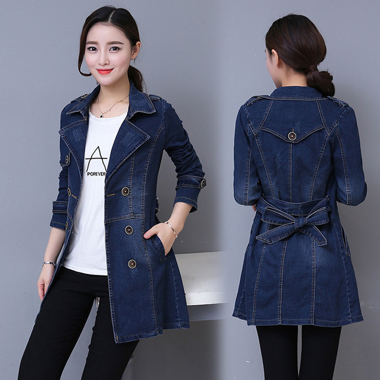#3308 2019 Long Denim Jacket Women Double Breasted Jeans   Coat   Ladies Casual Slim Plus Size 3XL 4XL Windbreaker Woman With Belt