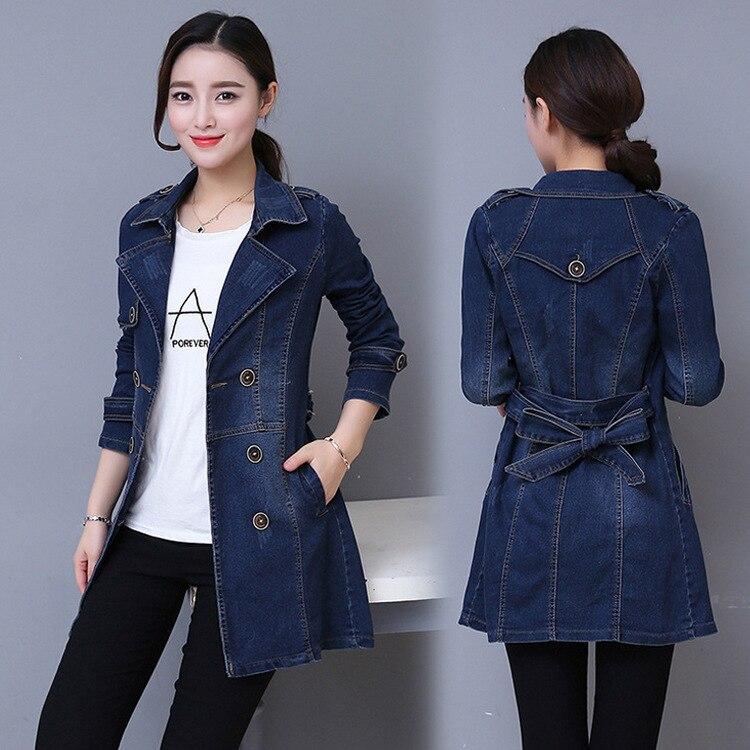 #3314 Neue 2019 Denim Jacke Lange Frauen Zweireiher Jeans Mantel Damen Casual Slim Fit Plus Größe 3xl 4xl Windjacke Frau