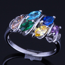 Captivating Multigem Multicolor Cubic Zirconia 925 Sterling Silver Ring For Women V0125