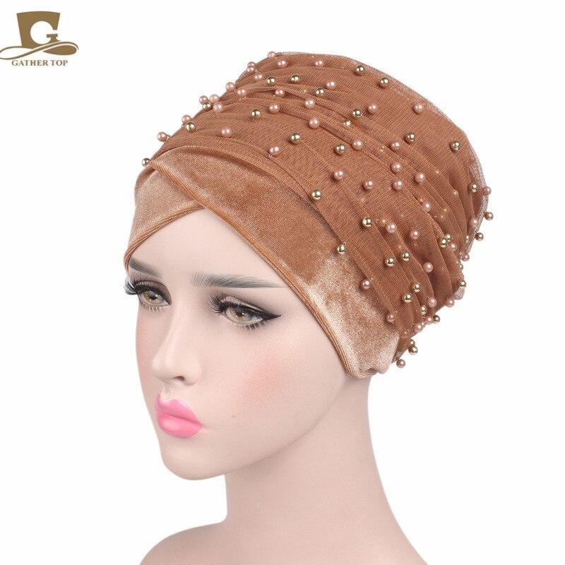 New Luxury Mass Gold Beaded Mesh Head wrap Velvet Nigerian Turban Women Hijab Extra Long Head scarf Headscarf Turbantes
