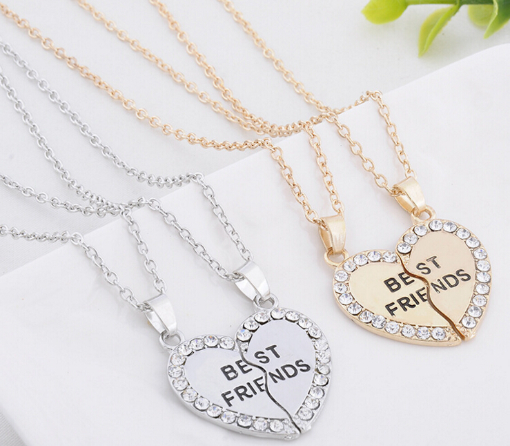 50d2bfad96 Best Friend Forever Series Two-color Gold And Silver Broken Heart Pendant  Couple Necklace One Half And A Half Girlfriend Brother