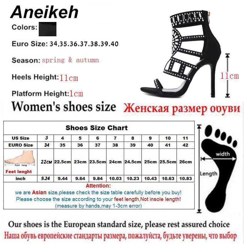 24f6105b9e5dc0 ... Aneikeh Rhinestone Gladiator Sandals Open Toe High Heel Sandals Crystal  Ankle Wrap Diamond Gladiator Women Shoes