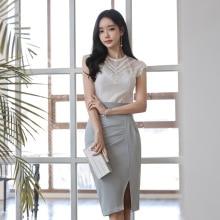 Korean Style Two Pieces Set Plus Size 2019 Summer Lace Blouse and Empire Wrap Bodycon Skirt Women 2 Pieces Set Offic Suit Set