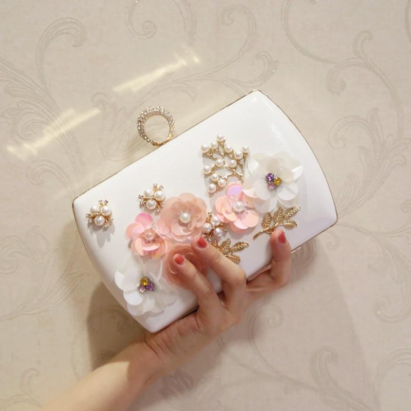 цены Women handbags Wedding bag Fashion paillette flower 2018 day clutch bag mini small bag banquet brief chain bridal bag