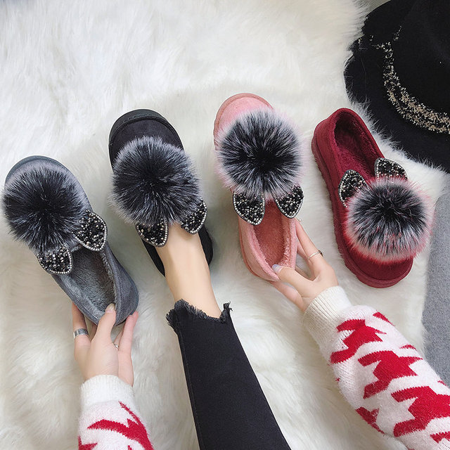 fdbeee0ff Botas de neve 2018 inverno nova moda selvagem sapatos peas Coreano orelhas  de coelho doce planas