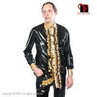 Латекс рубашка Длинные рукава резиновая куртка Gummi Пальто Блузка Топ равномерное комбинезон плиссированным воротником Большие размеры XXXL