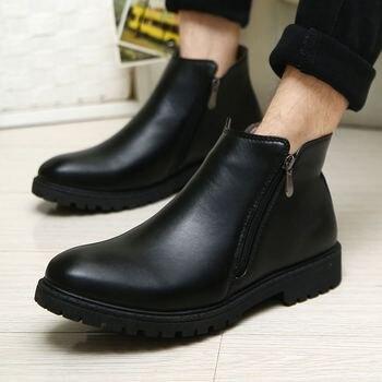 LAISUMK Vintage Chelsea Boots Men Winter Keep Warm With Plush Mens Shoes Zipper 2020 New Fashion Slip On Ankle