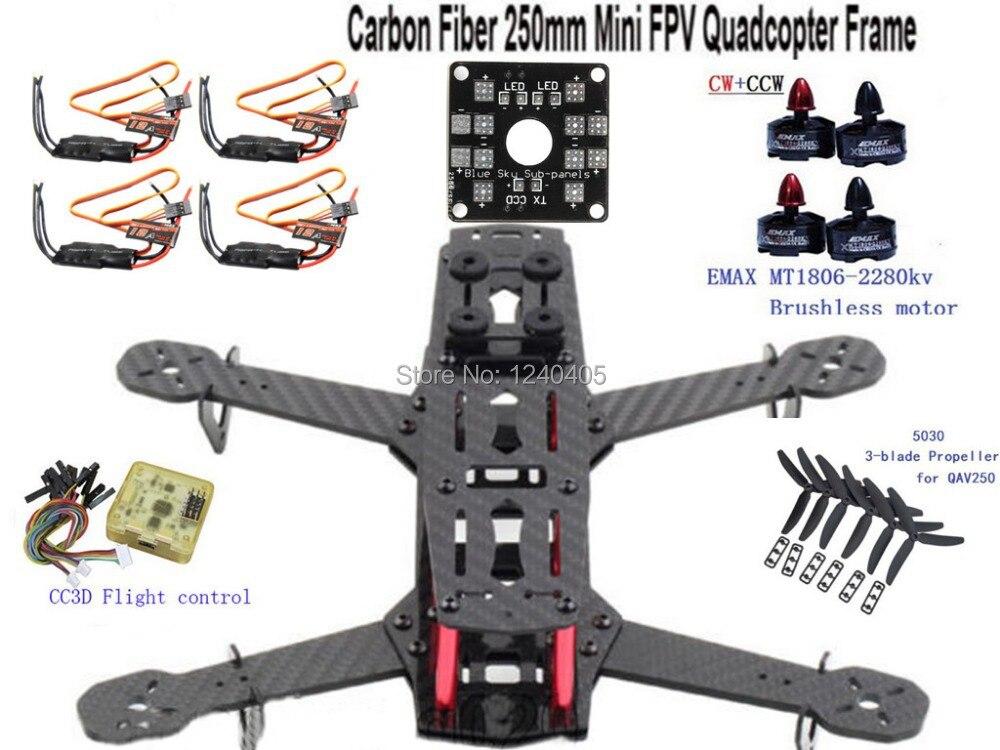 QAV250 DIY Carbon  Quadcopter Multirotor Kit&Emax MT1806 2280KV Brushless Motor&Emax Simonk 12A ESC&CC3D Flight&5030  Propeller  high quality hexacopter emax mt2216 810kv 200w clockwise brushless motor for multirotor quadcopter