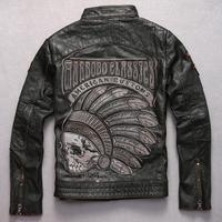Men Leather jacket Indian motorcycle Embroidery