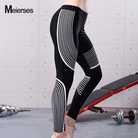 MEIERSES Women White Striped Yoga Leggings Printed Autumn-winter Sports Pants Skinny Fitness Clothes Elastic Black Running Wear