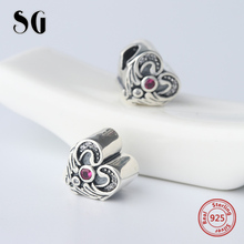 SG Lovely original love heart wing Beads with pink CZ Silver 925 Charms Fit Authentic pandora Bracelet Jewelry making Gifts