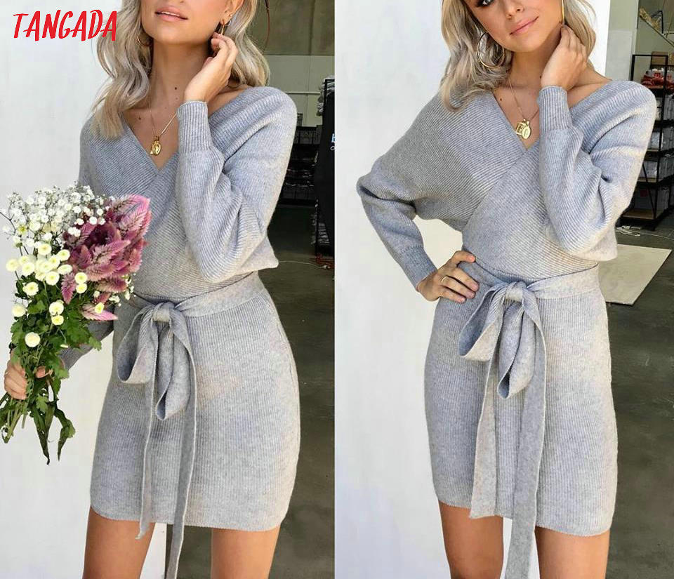 Tangada women dress 19 knitted mini dress autumn winter ladies sexy green sweater dress long sleeve vintage korean ADY08 7