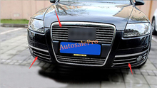 DIY luz de niebla del Frente del Cromo + Centro de Rejilla de La Parrilla Cubierta Raya Superposición Ajuste 1 Unidades para Audi A6 C5 2005-2008