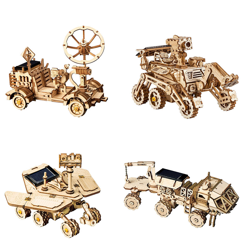 ROKR DIY Space Hunting Solar Energy Toys 3D Wooden Puzzle Assembly Model Building Kit Toys For Children Kids Adult Drop Shipping