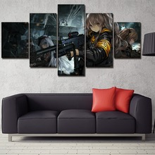 Wall Art Canvas Paintings Framework Home Decorative Artwork 5 Pieces Anime Girls Frontline Pictures HD Print Modular Poster high quality canvas print poster framework painting wall art home decorative 5 pieces anime unknown landscape modular pictures