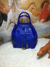 100% Real/Genuine Crocodile Skin Women Bucket bag Crocodile Leather Tote shoulder Handbag, Crocoidle skin Lady business bag