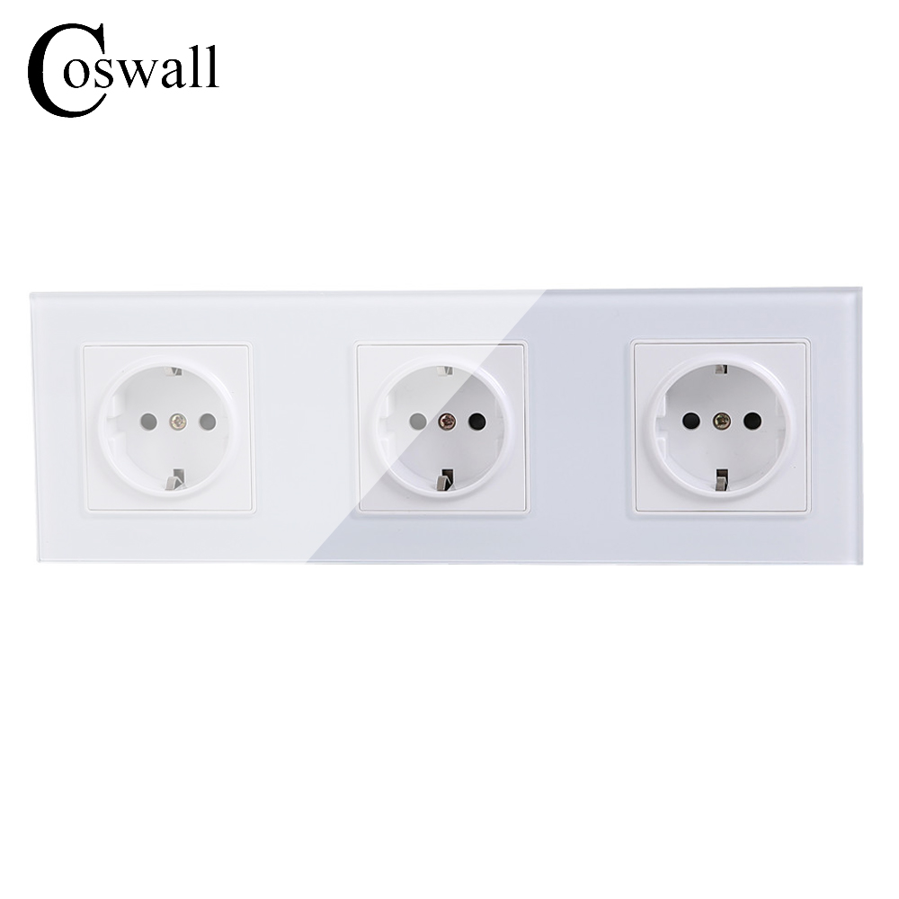 COSWALL Wall Crystal Glass Panel 3 Way Power Socket Plug Grounded, 16A EU Standard Electrical Triple Outlet 258mm * 86mm atlantic brand double tel socket luxury wall telephone outlet acrylic crystal mirror panel electrical jack
