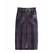 Ceintures décoration patch poche femmes plaid jupe droite casual lady lâche  jupes de mode streetwear taille haute jupe P736 7bf9bb91bf34