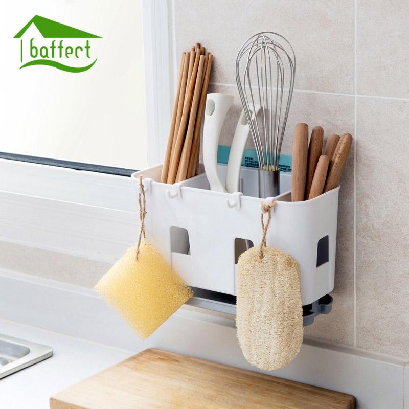 Plastic Kitchen Water Cutlery Sponge Holder Shelving Dish Rack Drain Chopsticks Spoon Storage Box Rack Kitchen Accessories