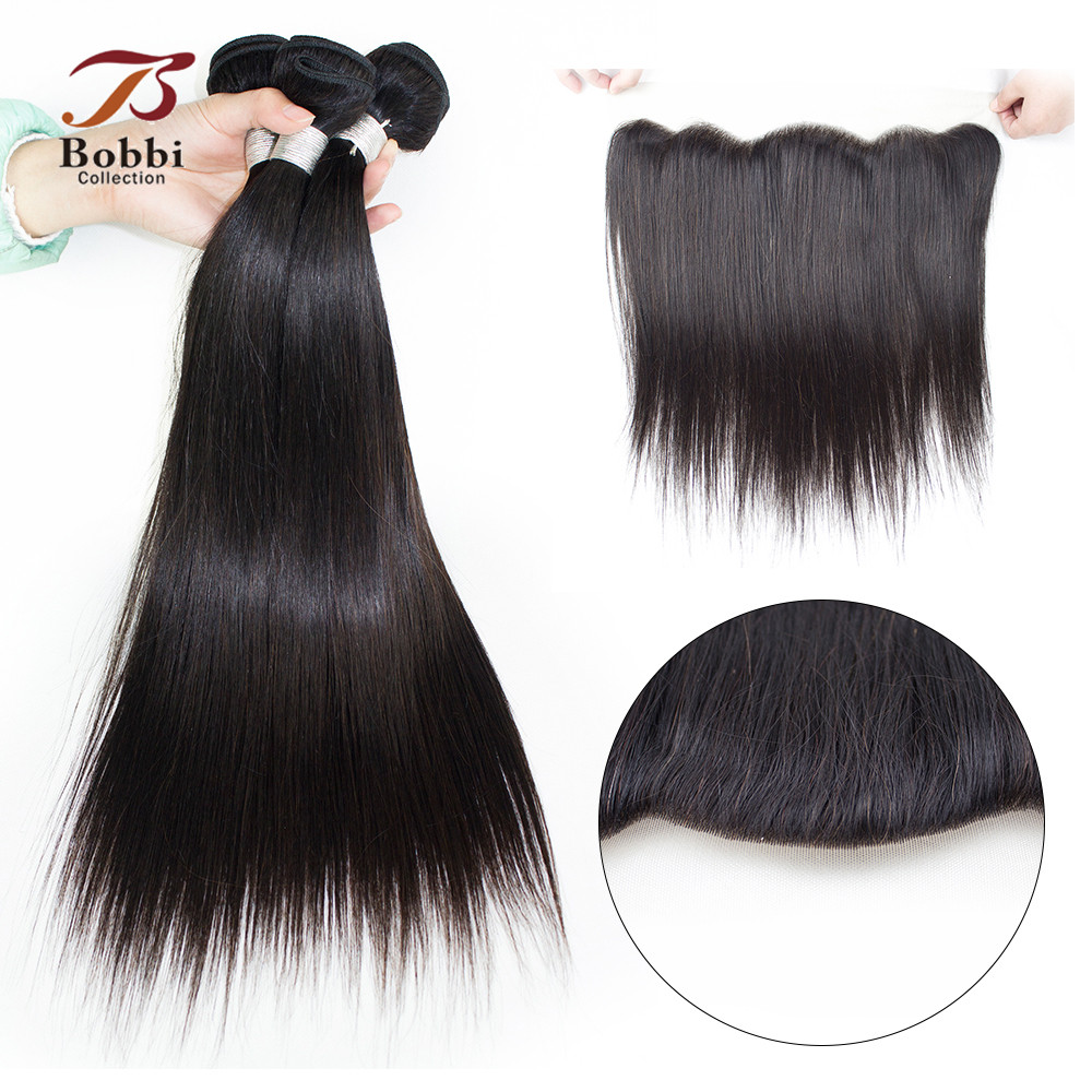 BOBBI COLLECTION Peruvian Straight Hair Weave 3 Bundles With 4x13 Ear to Ear Lace Frontal Closure Non Remy Human Hair Extensions